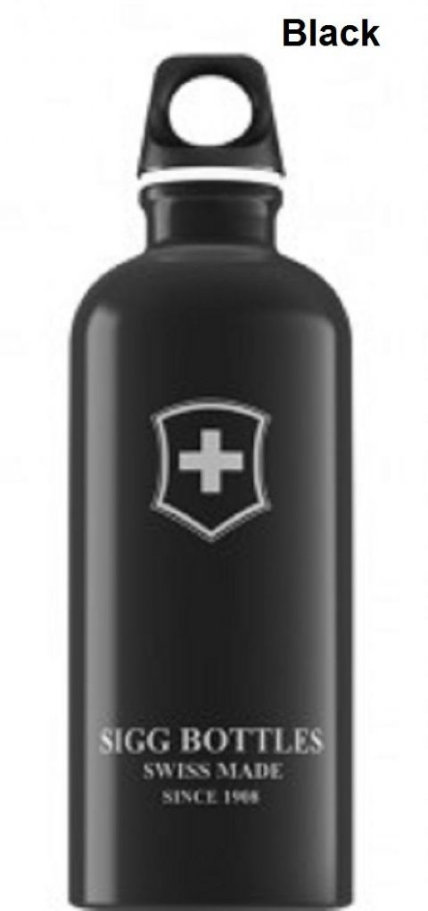 Sigg Swiss Emblem Water Botttle - 0.6 Litres, Black/Red